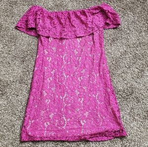 Eliza J Fuschia Off shoulder dress. Size 8